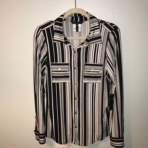 BCBGMaxAzria black and white stripe top Size M